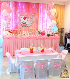 Hello Kitty inspired party for baby Jewel! All pink pink pink love the dessert & Love this! Especially backdrop and framed number! | Party ...