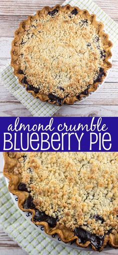 Almond Crumble Blueberry Pie: fresh blueberries covered with a crunchy almond paste crumble. The perfect pie. {Bunsen Burner Bakery}