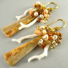 Fossil Coral Pearl Jasper Citrine and White Branch by SurfAndSand, $159.00