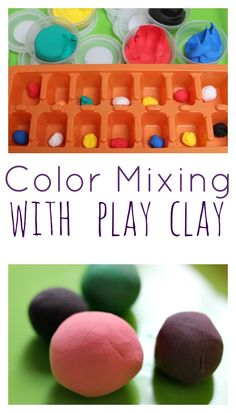 Great color mixing free choice activity - this encourages children to make predictions and experiment.  Mixing the clay works on hand strength too!