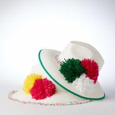 Helene Berman colour block pompoms and fringe detail summer hats