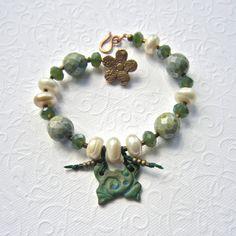 Butterfly bracelet Beaded bracelet ceramic by THEAjewellery, £36.00