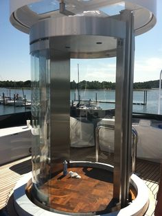 Glass elevator on-board a yacht Layers Of The Ocean, Glass Lift, Stair Lift, Glass Elevator, Beyond The Sea, House Elevation, Custom Glass, New Builds, Glass Design