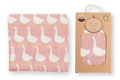 Milkbarn Baby Organic Muslin Swaddle Blanket - Rose Goose