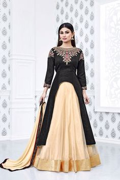 Black and cream georgette party wear anarkali suit Heavy embroidery work on all over suit Comes with a matching saloon bottom and chiffon dupatta Can be stitched up to size 42 inches Long Anarkali Gown, Long Choli Lehenga, Silk Anarkali Suits, Black Lehenga, Bridal Lehenga Choli, Salwar Suits, Indian Dresses, Indian Outfits, Mouni Roy Dresses