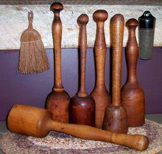 6 antique vintage primitive kitchen wooden wood turned masher muddler lot #NaivePrimitive
