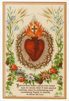 Holy card - Behold this heart which has loved men so much, that it has spared nothing, even to exhausting and consuming itself, to testify to them its love.