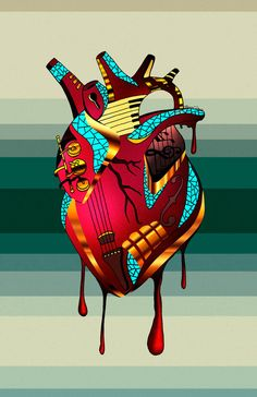 A collection of 15 human heart drawing art pieces illustrated by visual artist and illustrator Kenal Louis. An art series with representations of the heart.