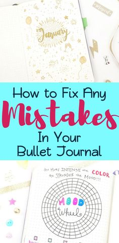 It's normal to make mistakes in your bullet journal, so don't let that get you down! Conquer it with one of 17 clever ideas for fixing your bujo mistakes! Bullet Journal How To Start A, Bullet Journal Spread, Bullet Journal Layout, Bullet Journal Inspiration, Bullet Journals, Bujo, As You Like, Let It Be, Planner Organization