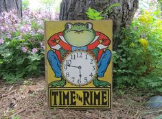 "Vintage Children's Book ""Time in Rime"" Hardcover ""Crownfield"" Illustrations Anthropomorphic Frog Clock Book Art ""Kresge"" Family Library by WillowValleyVintage on Etsy"