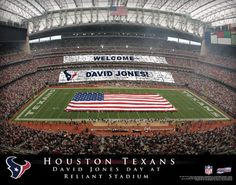 """Houston Texans NFL Football - Personalized Houston Texans Stadium Card Sports Print / Picture. Show everyone your """"Special"""" NFL Stadium Event and imagine YOUR NAME being displayed by fans during half-time! This exciting gift is perfect for any NFL Football fan. Optional framing with mat is available. Perfect for gifts, rec room, man cave, bar, office, etc. ( www.oakhousesportsprints.com )"""