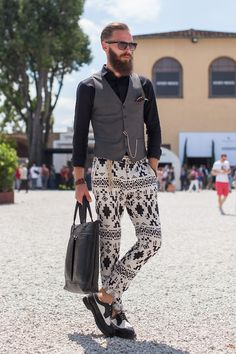 A perfect printed pant and vest combination at the Pitti Uomo trade show in Florence Szymon Brzóska for WGSN street shot, Pitti Uomo S/S 15