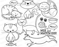 Cute Cats Doodles Digital Stamps - feline hand drawn sketches animals black and white stamps for Educational, Personal, COMMERCIAL USE 30012