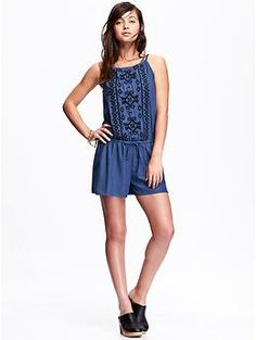 Womens Embroidered-Front Chambray Rompers Old Navy has size TALL!!!!!!!!!!!!! @aprilpike