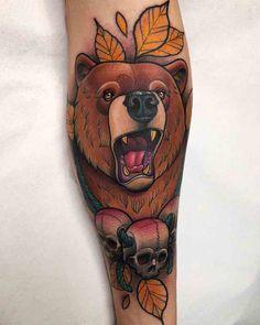 Bear Tattoo by Krish Trece Ox Tattoo, Bull Tattoos, Dad Tattoos, Time Tattoos, Cover Tattoo, Tattoo Fonts, Animal Tattoos, Sleeve Tattoos, Traditional Bear Tattoo