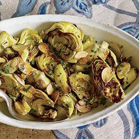 Sautéed artichokes...And you use frozen ones, so you don't have to cut them up. Vegan.