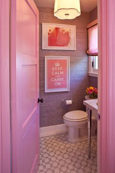 Interior design pink bathroom with toilet,grasscloth wallpaper, framed keep calm print, pink door Wc Decoration, Tout Rose, Elements Of Style, Everything Pink, Pink Love, Pink Purple, Hot Pink, Aqua, Home Interior