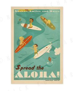 Spread the Aloha  12 x 18 Retro Hawaii Surfing by EverythingIsJake, $20.00