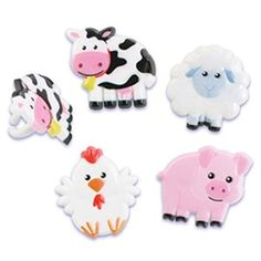 Farm Animals Cupcake Topper Rings  Set of 12 Cow Pig Chicken Lamb >>> Want to know more, click on the image.
