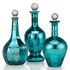 teal home accents Deep Turquoise/Teal mercury glass bottles. Tranquil Turquoise Studios home accent Home Decor Accessories, Decorative Accessories, Teal Accessories, Teal Living Room Accessories, Decorative Accents, Kitchen Accessories, Turquoise Home Decor, Aqua Decor, Turquoise Glass
