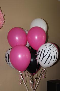 Pink and Zebra Balloons Pink Zebra Birthday, Pink Zebra Party, Bday Girl, 1st Birthday Girls, Birthday Ideas, Zebra Print Party, Barbie Theme Party, Rock Star Party, Twins 1st Birthdays