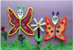 Butterfly craft idea for kids Fun Diy Crafts, Fun Crafts For Kids, Diy Craft Projects, Handprint Butterfly, Butterfly Crafts, Butterfly Bulletin Board, Farm Animal Crafts, Farm Animals, Fuzzy Caterpillar