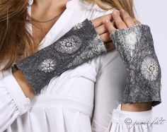 Katie made some similar for a 4H project! Fingerless gloves  Grey style ornaments  Nuno Felted by JumiFelt
