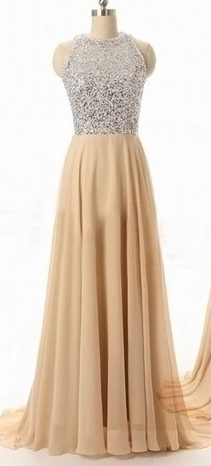 Custom Made Prom Dress, A Line Round Neck Backless Long Prom Dresses