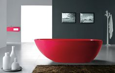 The Interior Gallery Modern Bathtub - Soaking Bathtub - Freestanding Bathtub - Solid Surface Bathtub - Cast Stone Bathtub - Dazio II Contemporary Bathtubs, Modern Bathtub, Freestanding Bathtub, Bathroom Red, Bathroom Colors, Bathroom Designs, Bathroom Ideas, Bathtub Designs, Bathtub Ideas