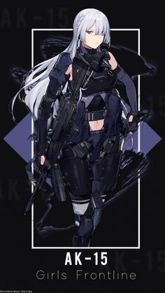 AK-15 | Wallpaper Android ( Girls Frontline ) by AchzatrafScarlet on DeviantArt Pretty Anime Girl, Cool Anime Girl, Kawaii Anime Girl, Anime Art Girl, Anime Guys, Anime Military, Military Girl, Chica Anime Manga, Manga Girl