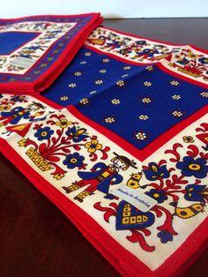 Vintage Four 4 Austrian Placemats and Napkins 6 / Folk Art Textiles / Scandinavian Decor
