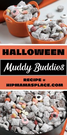 You'll love this Halloween Muddy Buddies (also known as Puppy Chow) snack mix recipe! It's a real delight and a must have this Halloween season! Salty, sweet, chewy and crunchy and you can add any Halloween favorite candy to suit your taste!  #muddybuddies #Halloween #puppychow #Halloweensnack #Halloweentreat #trickortreat #easyrecipes #muddybuddiesrecipe #puppychowrecipe #Halloweensnacks #hipmamasplace #Halloweenparty #Halloweenrecipes
