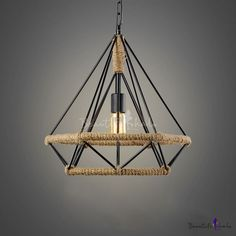 Width Open Diamond Cage LED Hanging Lamp with Burlap Intertwined, Fashion Style Industrial Lighting Bar Pendant Lights, Pendant Lamp, Pendant Lighting, Wrought Iron Chandeliers, Painting Lamps, Vintage Light Fixtures, Dining Room Bar, Restaurant Lighting, Farmhouse Lighting