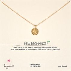 Dogeared - new beginnings wheat gold dipped necklace