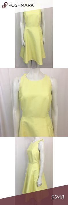 "Kate Spade Double Bow Back Dress Size 12 Kate Spade New York Women's Yellow Double Bow Back Sateen Fit Flare Dress 12 New  50% Polyester; 45% Cotton; 5% Polyamide  Bust: 38""  Waist: 32""  Length: 42.5""  $448 kate spade Dresses"