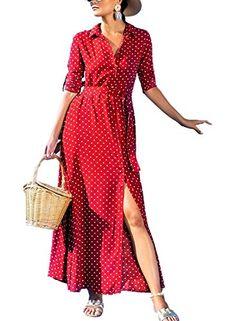 cd729491644 Lovezesent Women s Vintage Polka Dot Long Chiffon Dress Sexy V Neck Bottun Down  Split Pockets Maxi