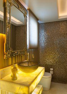 Espelhos com molduras em banheiros e lavabos - veja ideias simples e inspiradoras! PASTILHAS PAREDE!!