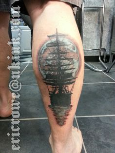 fuckyeahtattoos:  Ship silhouette with moon ink done by Eric Rowe at Skin Kreations in Lake Hopatcong, NJ. #erowetattoos #skinkreations #n...
