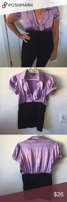 Bebe purple and black blouse Great condition perfect business casual blouse bebe Tops Button Down Shirts