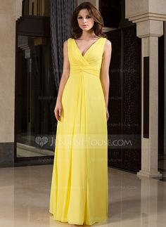 A-Line/Princess V-neck Floor-Length Chiffon Bridesmaid Dress With Ruffle (007027160) - JenJenHouse
