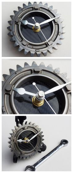 Made from a 2007 Honda F1 4th gear ratio, this clock ups the steampunk style of any modern industrial home. Click to buy. #auto #style