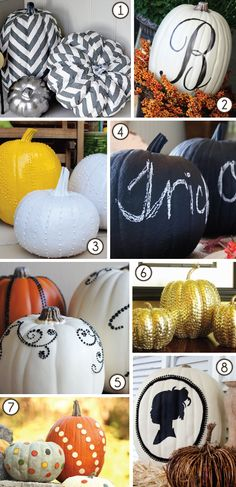 The place we're moving to actually has a small from area with stairs...  I love pumpkins and have been wanting to do something fun.  I think I found my project!  I especially love the ones painted with chalkboard paint and then written on with chalk.  That's a fun thing just to have for kids too!