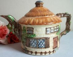 Vtg Beswick Ware Hand Painted Ceramic Figural Tea Pot Thatched Cottage House   eBay