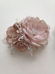 Flower Pin - Petite Size - Blush Pink, Champagne, and White - Baby Sash Pin…