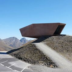 Museum by Arch. Werner Tscholl | Located along a mountain pass, the Timmelsjoch Experience Pass Museum was constructed to celebrate the road's fiftieth anniversary.