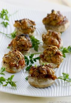 "The possibilities for stuffed mushrooms are almost limitless. They are perfect as passed hors d\'oeuvres and they\'re incredibly versatile and easy to make when you\'re pressed for time. We have a dinner party tonight, and I wanted to use the leftover stuffing from Thanksgiving. ""Stuffing-stuffed Mushrooms"" has a nice ring to it, no"