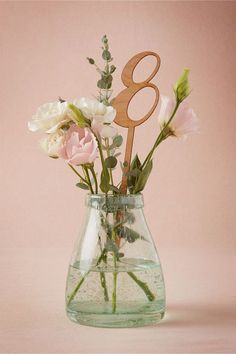 Add laser cut wooden pole table numbers to flower filled vases for a pretty spring garden decor. Picture about the perfect palette. Garden Wedding Invitations, Garden Wedding Decorations, Wedding Themes, Diy Wedding, Wedding Flowers, Nautical Wedding, Wedding Favors, Trendy Wedding, Wedding Shot