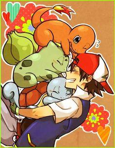 Ash Ketchum, Squirtle, Bulbasaur, Charmander; Pokemon