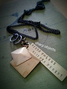 Spoken Words Fly - mens industrial pyramid spike, stamped Latin proverb tag, steel ring charm & sealed link chain necklace by inkfinesse on Etsy