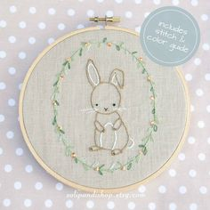 Little Bunny is a pattern for hand embroidery. It's perfect on a pillow, blanket, tea towel, shirt or embroidery hoop frame. This little bunny is #HandEmbroideryPatterns